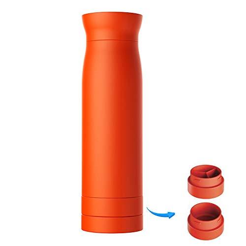 ORPERSIST Bouteille Thermoses Isotherme Mug De Voyage en Acier Inoxydable avec Boîte De Rangement Inférieure à Double Couche Orange