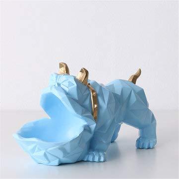 ExcLent Bulldog Tierskulptur Hündchen Statue Figur Ornament Geschenk Dekorationen - Blau