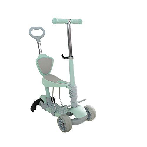 Kinderwagen Peuters 5-in-1, verstelbare step met verwijderbare en verstelbare stoel en universeel wiel,Blue