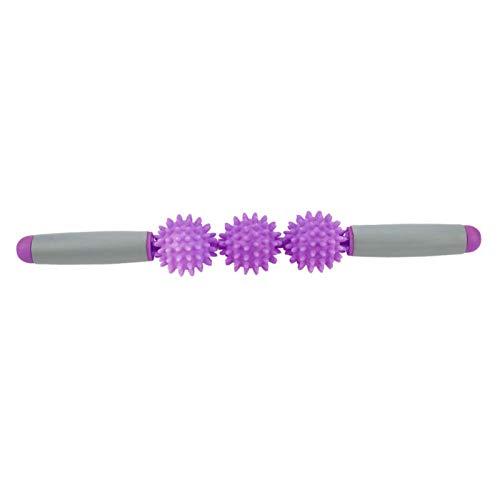 minifinker con 5 Bolas de Celulitis Puntiagudas de Color Verde, Azul, Rosa, Morado, Palo de Yoga con Rodillo Muscular, para el hogar, para el Gimnasio(Purple)