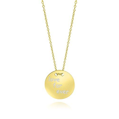 Aion Damen Kette mit Kreis Rund Gold 585 Platte Anhänger in Gelbgold Feine Halskette Ankerkette Gravur Love for Ever 45 50 cm