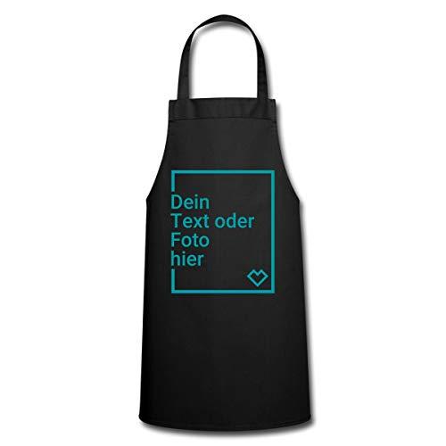 Spreadshirt Personalisierbare Kochschürze Selbst Gestalten mit Foto und Text Wunschmotiv Kochschürze, Schwarz