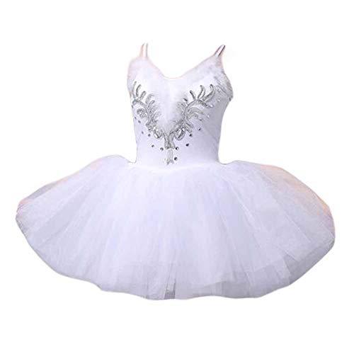 Vestido de Danza de Ballet de Cisne para Mujer Adulto Vestido de tutú sin Mangas con Lentejuelas y Trajes de Flores con Lentejuelas, Blanco