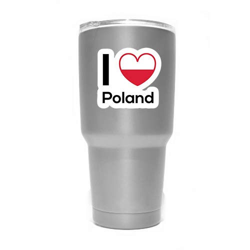 One 5 Inch Decal Love Poland Flag Decal Sticker Home Pride Travel Car Truck Van Bumper Window Laptop Cup Wall MKS0224