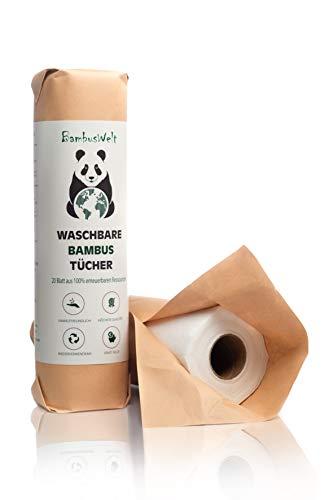 Küchenrolle aus Bambus | Premium Allzwecktücher | saugstarke & reißfeste Haushaltstücher | zur Reinigung aller Oberflächen geeinigt | umweltfreundliche & waschbare Papiertücher | Bambuswelt