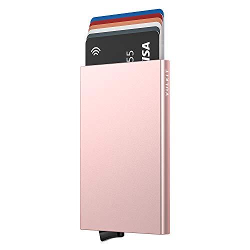 VULKIT Alpha Tarjeteros para Tarjetas Bloqueo de RFID Pop up Automatico Cartera Tarjetero de Aluminio Hombre o Mujer para 5 Tarjetas Oro Rosa
