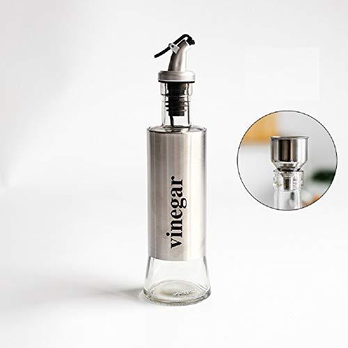Ayanx 4-delige roestvrijstalen olijfolie fles 300 ml olie kan olie pot glas sojasaus azijn kruiden pot thuis keuken accersory