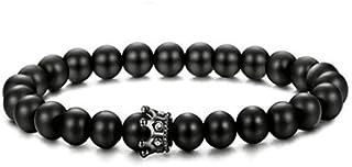 Men Crown King Bracelet Black Matte Agate Bracelet Adjustable 8MM Beads