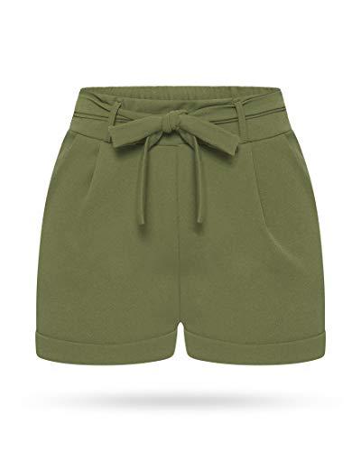 Kendindza Damen Sommer Shorts | Kurze Hose mit Schleife zum binden | Bermuda | Uni-Farben (L/XL, Oliv)