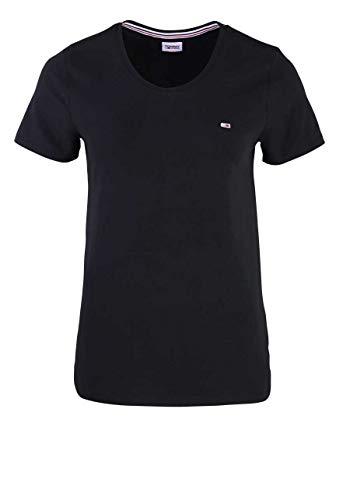 Tommy Jeans Damen TJW Stretch Crew Tee T-Shirt, Schwarz, X-Large