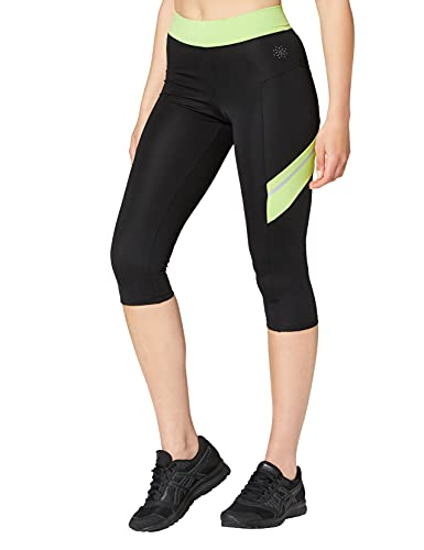 Marca Amazon - AURIQUE Contrast Panels BAL004, Mallas de entrenamiento Mujer, Multicolor (Black/Lime), 14 (Manufacturer size: Large)