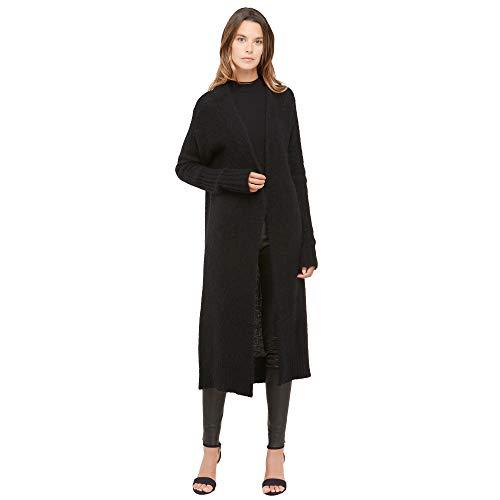 Lange open dames vest van mohair- en merino wol mix Kleur zwart