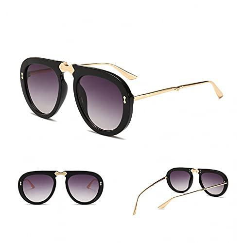 SXRAI Gafas de Sol Mujer Hombre Gafas de Sol de Metal para Mujer Gafas de Sol Redondas,C1