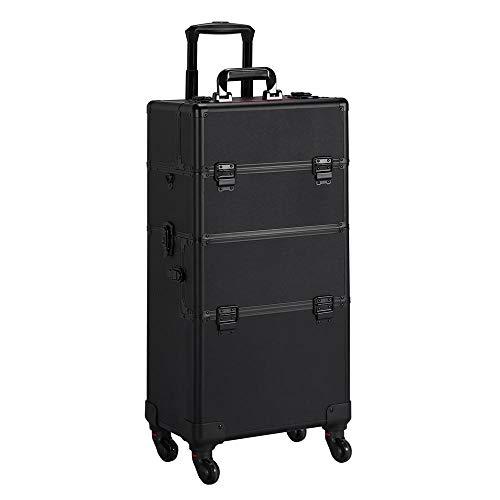 Yaheetech Kosmetikkoffer Trolly Beauty Case Alu Schminkkoffer für Gepäck Etagenkoffer 3 in 1 Koffer auf Rollen mit Make-up Pinsel Tasche