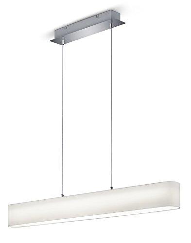 Trio Leuchten 320910101 Lugano A, LED Pendelleuchte, Nickel, 18 watts, Integriert, Stoffschirm Weiß, mit Switch-Dimmer, 8.5 x 100 x 150 cm