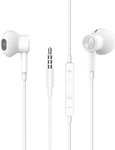 Para auriculares in-ear de 3,5 mm con cable magnético, cable con micrófono y control de volumen para iPhone, Pod, Pad, MP3, Huawei, Samsung, auriculares ligeros con auriculares de 3,5 mm