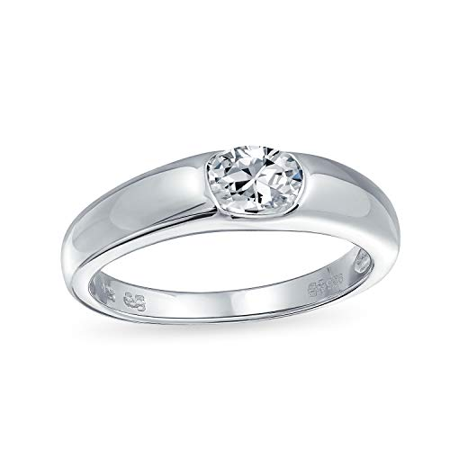 Bling Jewelry Sterling Silver .5 Carat CZ Oval Promise Ring,Clear,6 1/2 Sterling Silver Jewelry