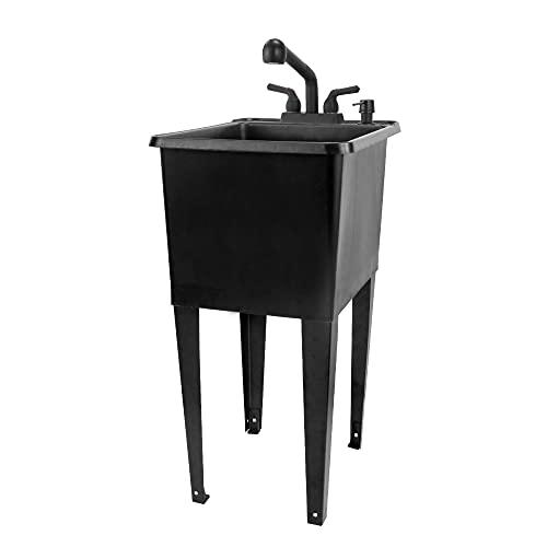 Space Saver Utility Sink by JS Jackson Supplies, Pull-Out Faucet, Soap Dispenser, Black Tub (Black)