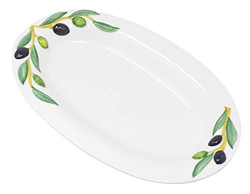 Lashuma Handgemachte Ovale Servierplatte aus Italienischer Keramik im Olivendesign, Servierteller 32x19 cm
