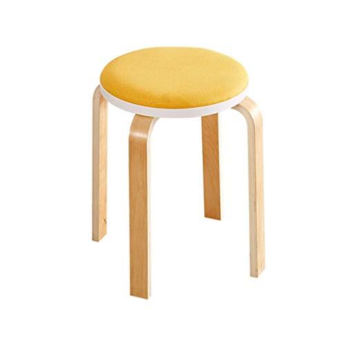 Kruk voor schoenvervanging, kruk beklede voetensteun van ottoman hout rond met 4 voeten stofbescherming stoel kledingstoel schminkkruk zitkussen van linnen stof ruiten voor hal | woonkamer heavy duty PUNX7228r-1 Punx7228r-1
