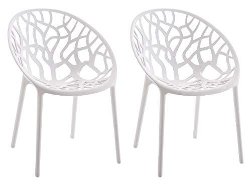 CLP 2er-Set Gartenstuhl Hope Aus Kunststoff I 2 x Wetterbeständiger Stapelstuhl Mit max. 150 KG Belastbarkeit, Farbe:weiß
