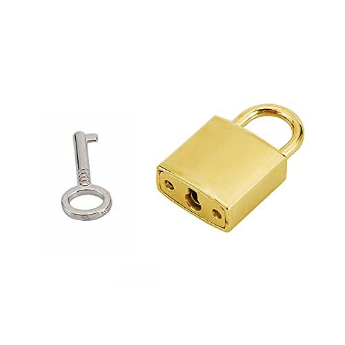Mini Metal Lock - Zinc Replacement Pad-Lock with 3 Keys, Mirror Glossy, Gold