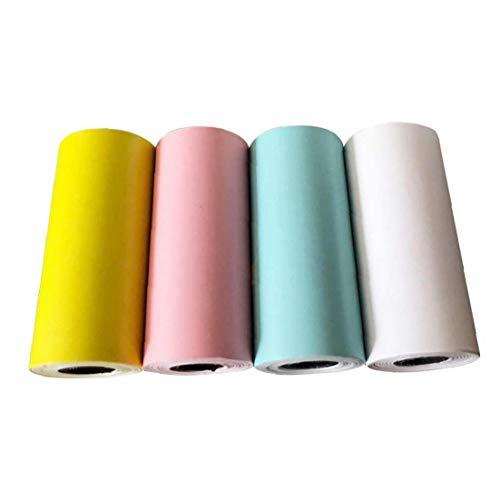 Rouleau de papier thermique autocollant Impression thermique auto-adhésif Bill réception Impression photo papier coloré Outils informatiques 4PCS