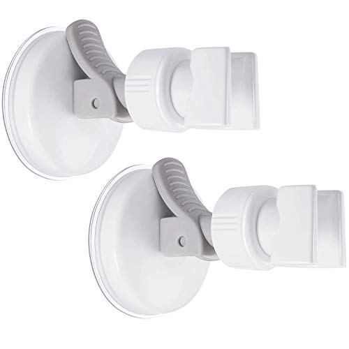 Upgraded 2 Pack Vacuum Suction Cup Shower Head Wall Mount Holder and Plastic ABS Removable Handheld Showerhead Adhesive Bracket, Grey Wrench