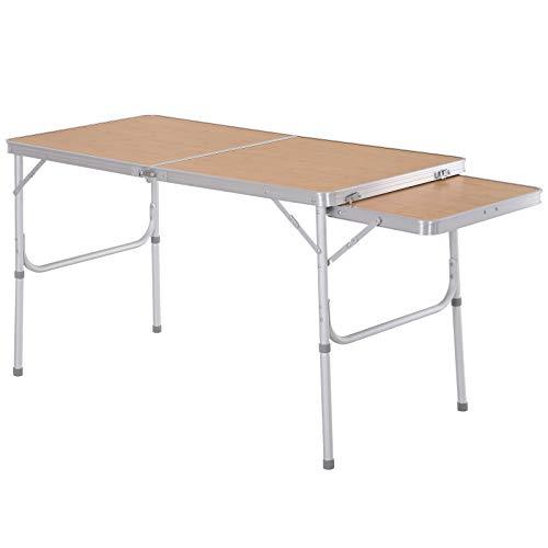 Outsunny Campingtisch Klapptisch Picknicktisch Höhenverstellbar Extra Tischplatte Alu 120 x 60 x 40/70 cm
