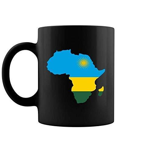 N\A Taza de café con Mapa de África de la Bandera de Ruanda del Orgullo de Ruanda, 11 oz