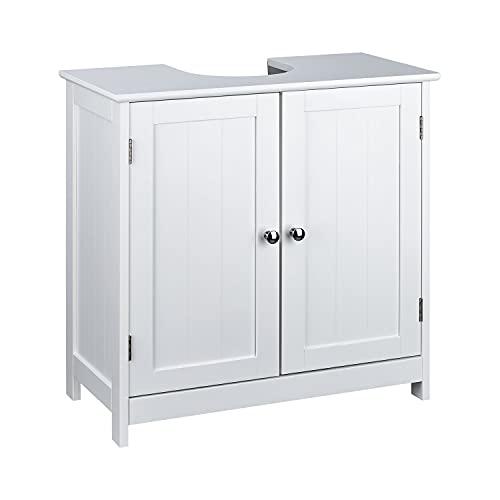 Waschbeckenunterschrank weiß im Landhausstil (ca. 50cm o. 60cm breit) - Badunterschrank versch, Breite Badezimmer Unterschrank Bad - Waschbecken Unterschrank (60 x 30 x 60 cm)