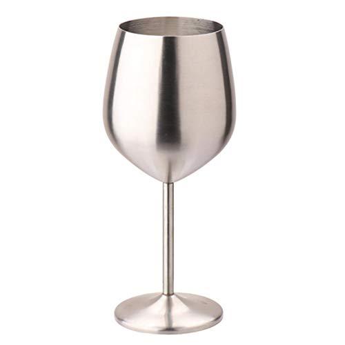 POHOVE Copas de vino de 500 ml de gran capacidad de acero inoxidable para beber fiesta, champán, cóctel, copa de una sola capa, cocina, irrompible, bar y limpiar al aire libre (mate)