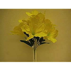Yellow Amaryllis Artificial Flowers Greens Leaves