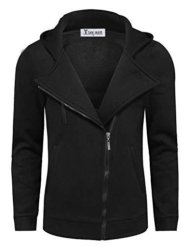 Tom's Ware Mens Trendy Asymmetrical Zip Hoodie Jacket TWHD1012-BLACK-US M