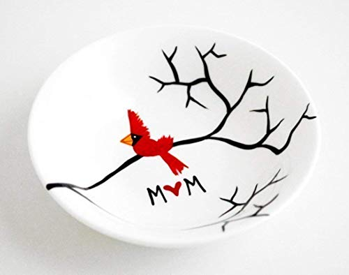 Cardinal Red Bird Ring Dish Personalized Gift For Mom, Personalized Jewelry Bowl, Mother's Day Gift