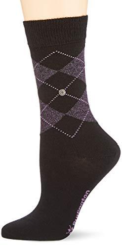 BURLINGTON Damen Socken Lurex Marylebone, Schurwollmischung, 1 Paar, Schwarz/lila (Black 3002), Größe: 36-41
