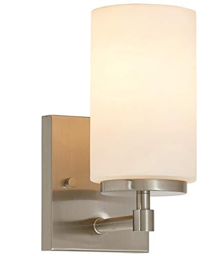 Brushed Nickel Glass Wall Sconce Bathroom Vanity Light LED Lighting Metal