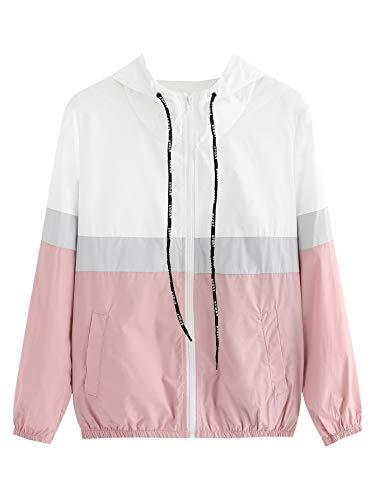 SweatyRocks Women's Casual Color Block Zip up Sports Windbreaker Hooded Jacket Pink XS