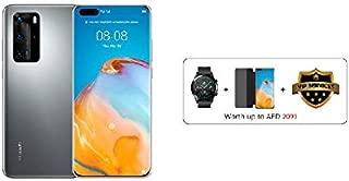 HUAWEI P40 Pro Smartphone 5G, 256 GB, 8 GB RAM, Dual SIM (Silver Frost) + Watch GT 2 Latona (Black) + Flip Cover (Black)