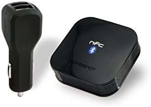 HomeSpot NFC-Enabled Wireless Bluetooth Audio Receiver for Car Audio with Bluetooth Auto-Reconnect & Dual Port Car Charger in Black