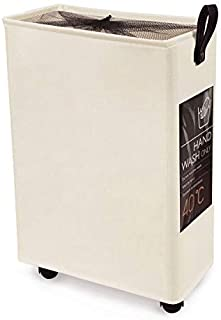 Slim Laundry Basket on Wheels Collapsible Laundry Hamper Rolling Tall Cloth Hamper 6 Cards Home Corner Bin Handy Waterproof Sorter and Organizer Bathroom 15.4