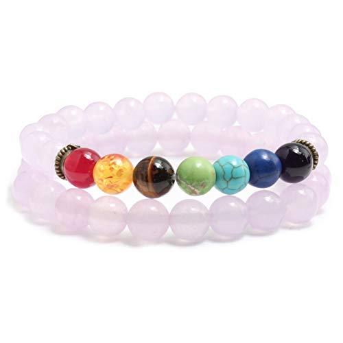 BXSZX armband 2 Stks/set 7 Chakra Yoga Kralen Armband Elastische 8MM Natuursteen Poeder Roze Kristal Kwarts Kralen Bedel Armbanden Voor Koppels Gift