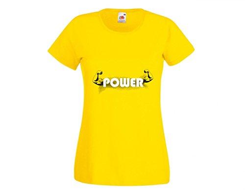 Camiseta con texto en alemán 'Die Muskeln- der Muskel- der Muskel- der DIÄT- Gesundheits- Gymnastik- Fitness Studio- SI?OWA?- Praxis- Schulung- GESUNDE para hombre- damas- niños - 104-5XL amarillo Talla del hombre: XXX-Large
