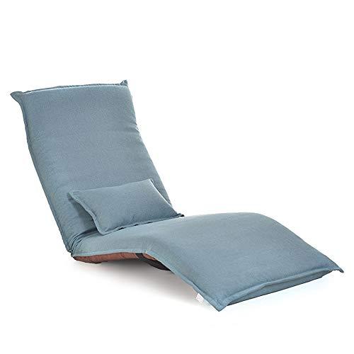 Chaises longues ZR- Pliant Lazy Sofa Chaise Élégante 5 Positions Réglables Étage Game Chair Yoga Mat Canapé Canapé Lits W/Oreiller (Color : Blue)