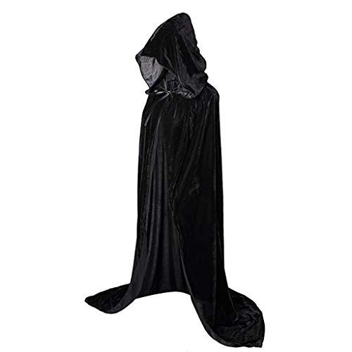LOPILY Umhang Kleid mit Kapuze Vintage Wasserfall Samtumhang Cape Vampir Kostüm Halloween Damen Cosplay Umhang Prop für Weihnachten Masquerade Mittelalter Bekleidung Karneval Kostüme (Schwarz, 40)