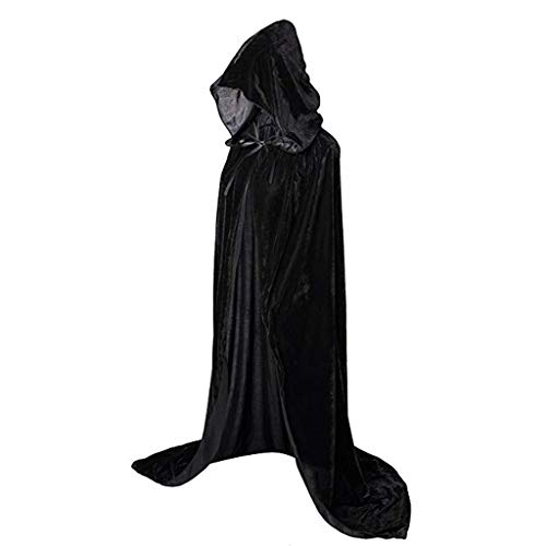 Sllowwa Unisex schwarz Mittelalter Umhang mit Kapuzen Robe Umhang Ritter Kostüm Halloween Karneval Party Cosplay