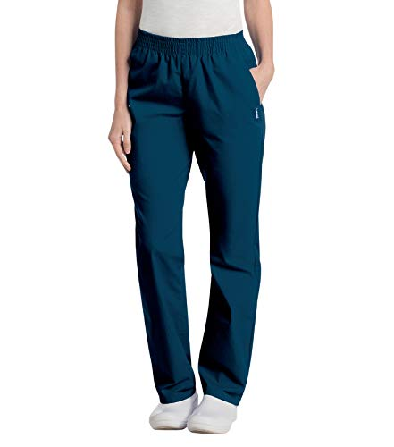small Landau Elastic Waist 2 Pockets Comfortable Relaxation Peeling Pants Women's Navy Blue Plus Size