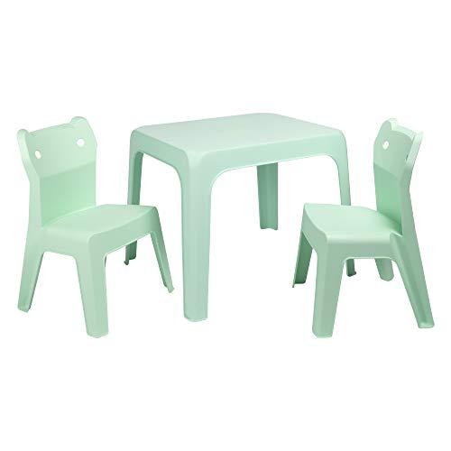 resol grupo Jan Cat Set Infantil 2 sillas y 1 Mesa para Interior, Exterior, jardín, Aquamint