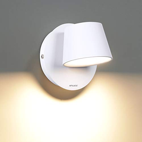 HAWEE Moderno Lámpara de Pared LED Luz de Lectura de Pared Giratoria de 350° Estilo Nórdico Focos de Pared LED Luz de Pared para Dormitorio Sala de Estar Pasillo Escaleras, Blanco 3000K