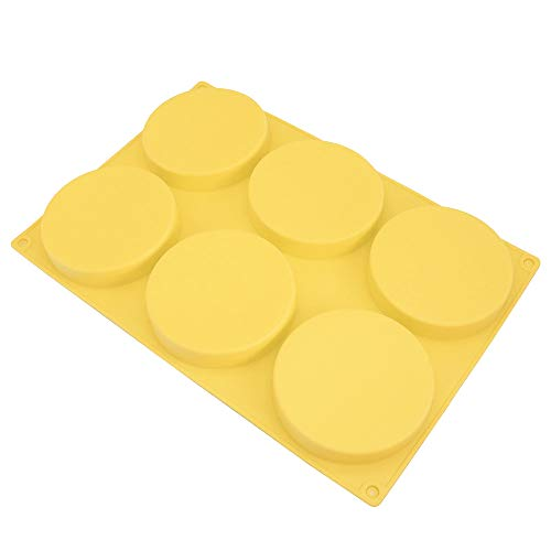 6-Cavity Large Cake Molds Silicone Round Disc Resin Coaster Mold Non-Stick Baking Molds, Mousse Cake Pan, French Dessert, Candy, Soap (Yellow)